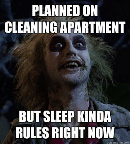 Dank, 🤖, and memes.com: PLANNED ON  CLEANING APARTMENT  BUT SLEEP KINDA  RULES RIGHT NOW  quick meme com
