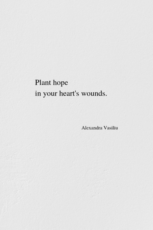 Hearts: Plant hope  in your heart's wounds.  Alexandra Vasiliu