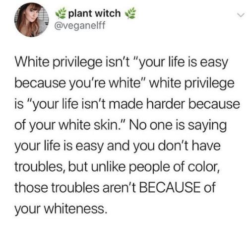 """White Privilege: plant witch  @veganelff  White privilege isn't """"your life is easy  because you're white"""" white privilege  is """"your life isn't made harder because  of your white skin."""" No one is saying  your life is easy and you don't have  troubles, but unlike people of color  those troubles aren't BECAUSE of  your whiteness."""