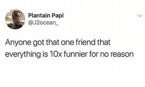 plantain: Plantain Papi  @J2ocean  Anyone got that one friend that  everything is 10x funnier for no reason
