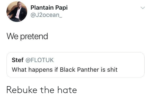 plantain: Plantain Papl  @J2ocean_  We pretend  Stef @FLOTUK  What happens if Black Panther is shit Rebuke the hate