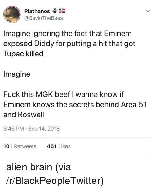 Beef, Blackpeopletwitter, and Eminem: Plathanos  @SavinTheBees  Imagine ignoring the fact that Eminem  exposed Diddy for putting a hit that got  Tupac killed  Imagine  Fuck this MGK beef I wanna know if  Eminem knows the secrets behind Area 51  and Roswell  3:46 PM Sep 14, 2018  101 Retweets  451 Likes alien brain (via /r/BlackPeopleTwitter)