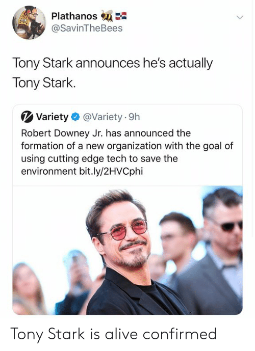 Downey: PlathanosE  @SavinTheBees  Tony Stark announces he's actually  Tony Stark  Variety  @Variety 9h  Robert Downey Jr. has announced the  formation of a new organization with the goal of  using cutting edge tech to save the  environment bit.ly/2HVCphi Tony Stark is alive confirmed