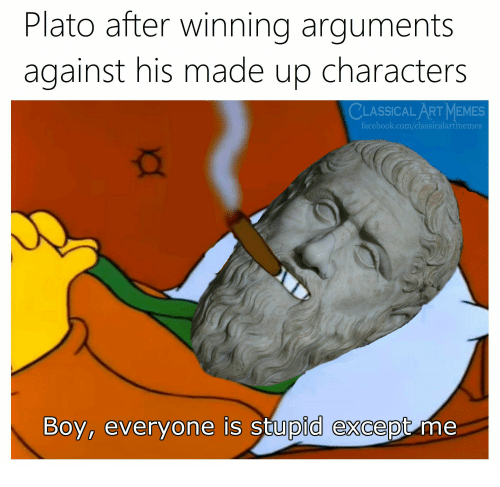Plato: Plato after winning arguments  against his made up characters  CLASSICAL ART MEMES  facebook.com/classicalartmemes  Boy, everyone is stupid except me