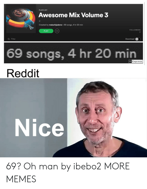 Express: PLAYLIST  Awesome Mix Volume 3  Created by malachijadenw 69 songs, 4 hr 20 min  FOLLOWERS  PLAY  2  Q Filter  Download  69 songs, 4 hr 20 min  PS Express  Reddit  Nice 69? Oh man by ibebo2 MORE MEMES