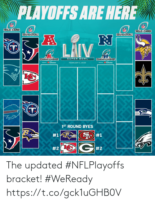bowl: PLAYOFFS ARE HERE  NFL  NFL  WILD CARD  NFL  NFL  (WILD CARD  DIVISIONAL  DIVISIONAL  LAIV  SUPER BOWL  CHAMPIONSHIP  CHAMPIONSHIP  PESEND / turbotax.  ESEVID r / turbotax.  FEBRUARY 2, 2020  1ST ROUND BYES  #1  #1  G#2  The updated #NFLPlayoffs bracket! #WeReady https://t.co/gck1uGHB0V