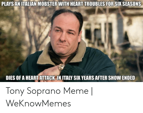 Tony Meme: PLAYSANITALIAN MOBSTER WITH HEART TROUBLES FOR SIX SEASONS  DIES OF A HEART ATTACK-IN ITALY SIX YEARS AFTER SHOW ENDED Tony Soprano Meme | WeKnowMemes