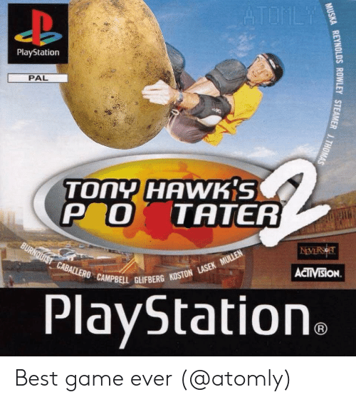 Memes, PlayStation, and Best: PlayStation  PAL  TONY HAWK'S  P O TATER  ACTIVISİON.  CAMPBELL GLIFBERG KOSTON  PlayStation Best game ever (@atomly)