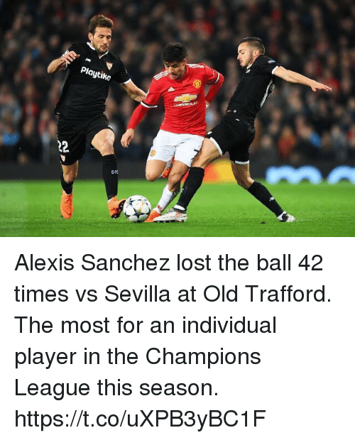 Alexis Sanchez: Playtiko  SFO Alexis Sanchez lost the ball 42 times vs Sevilla at Old Trafford. The most for an individual player in the Champions League this season. https://t.co/uXPB3yBC1F