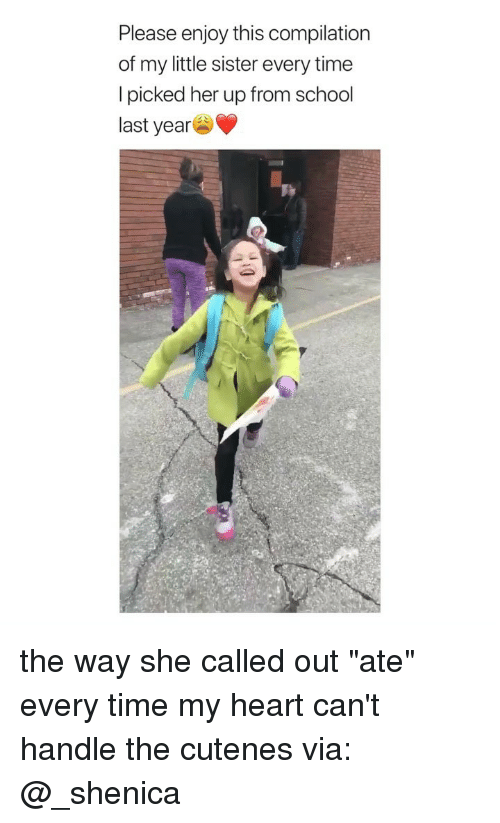 """School, Heart, and Time: Please enjoy this compilation  of my little sister every time  I picked her up from school  last year the way she called out """"ate"""" every time my heart can't handle the cutenes via: @_shenica"""