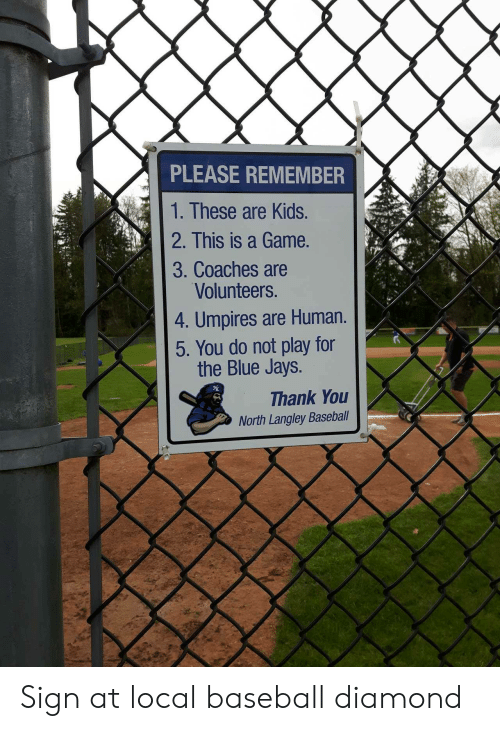 Jays: PLEASE REMEMBER  1. These are Kids.  2. This is a Game.  3. Coaches are  Volunteers.  4. Umpires are Human.  5. You do not play for  the Blue Jays.  Thank You  North Langley Baseball Sign at local baseball diamond