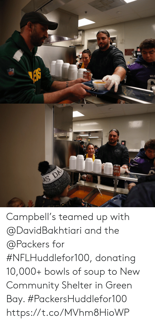 shelter: PLEASE  WASH  HANDS  THIS ARE  NKY  WILD   AS DA  CHUNKY  WILOC Campbell's teamed up with @DavidBakhtiari and the @Packers for #NFLHuddlefor100, donating 10,000+ bowls of soup to New Community Shelter in Green Bay. #PackersHuddlefor100 https://t.co/MVhm8HioWP