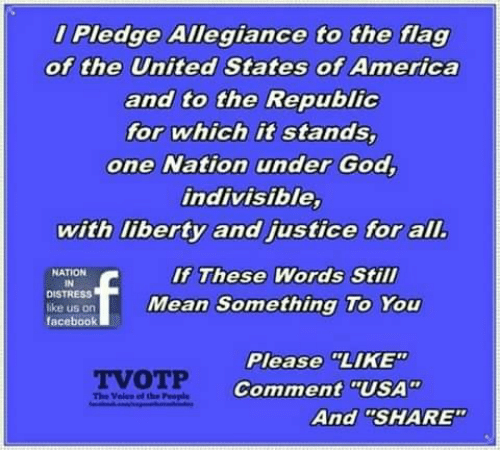 """Ali, America, and Facebook: Pledge Allegiance to the flag  of the United States of America  and to the Republic  for which it stands,  one Nation under God,  indivisible,  with liberty and justice for alI  If These Words Still  NATION  IN  DISTRESS  ike us on  facebook  Mean Something To You  Please LIKE  Comment """"USA""""  TVOTP  The Voles el the People  And """"SHARE"""""""