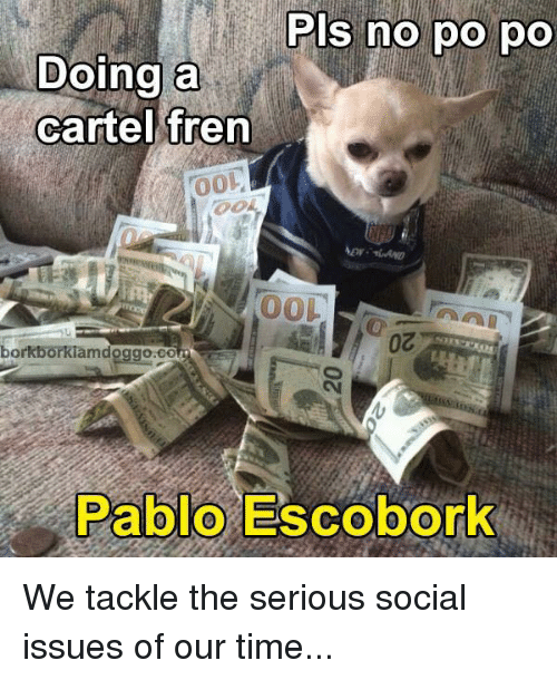 Dank, Time, and 🤖: Pls no po po  Doing a  cartel fren  00L  borkborkiamdoggoaco  Pablo Escobork We tackle the serious social issues of our time...