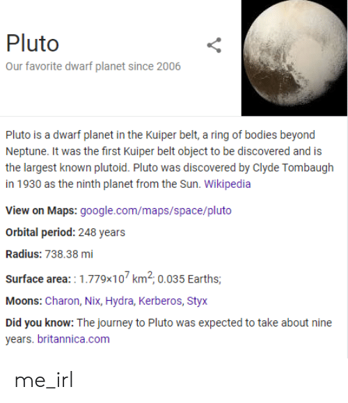 styx: Pluto  Our favorite dwarf planet since 2006  Pluto is a dwarf planet in the Kuiper belt, a ring of bodies beyond  Neptune. It was the first Kuiper belt object to be discovered and is  the largest known plutoid. Pluto was discovered by Clyde Tombaugh  in 1930 as the ninth planet from the Sun. Wikipedia  View on Maps: google.com/maps/space/pluto  Orbital period: 248 years  Radius: 738.38 mi  Surface area: 1.779x10 km2, 0.035 Earths,  Moons: Charon, Nix, Hydra, Kerberos, Styx  Did you know: The journey to Pluto was expected to take about nine  years. britannica.com me_irl