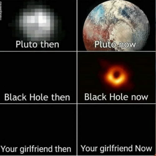 Black, Pluto, and Girlfriend: Pluto then  Pluto now  Black Hole thenBlack Hole now  Your girlfriend then Your girlfriend Now