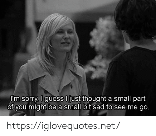 Sorry, Guess, and Sad: Pm sorry, I guess O just thought a small part  of you might be a small bit sad to see me go. https://iglovequotes.net/