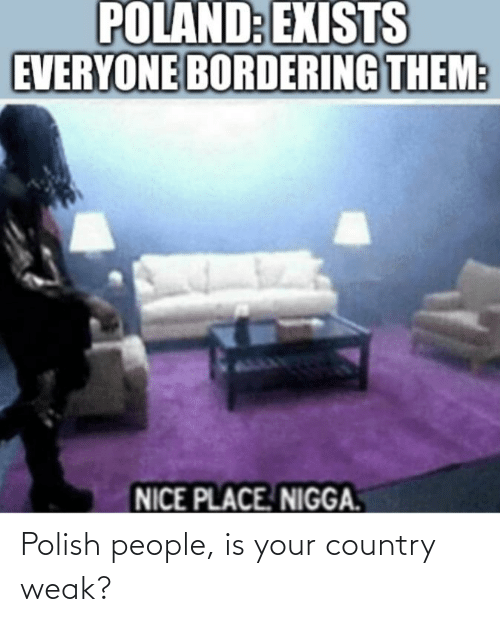 Polish People: POLAND: EXISTS  EVERYONE BORDERING THEM:  NICE PLACE. NIGGA. Polish people, is your country weak?