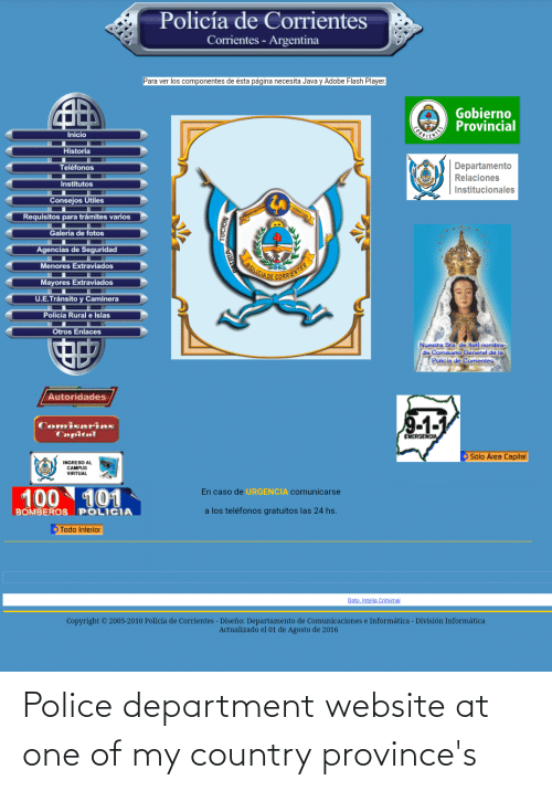 department: Police department website at one of my country province's