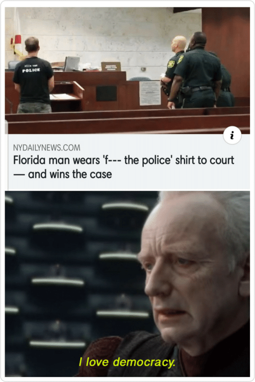 Democracy: POLICE  NYDAILYNEWS.COM  Florida man wears 'f--- the police' shirt to court  - and wins the case  I love democracy.