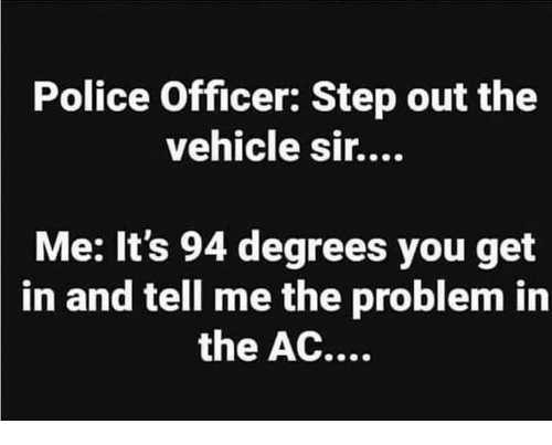 Memes, Police, and 🤖: Police Officer: Step out the  vehicle sir....  Me: It's 94 degrees you get  in and tell me the problem in  the AC....