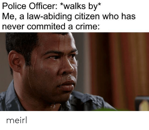citizen: Police Officer: *walks by*  Me, a law-abiding citizen who has  never commited a crime: meirl