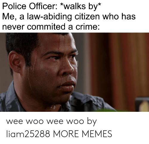 wee: Police Officer: *walks by*  Me, a law-abiding citizen who has  never commited a crime: wee woo wee woo by liam25288 MORE MEMES
