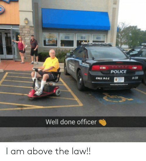 Above the Law: POLICE  Well done officer I am above the law!!