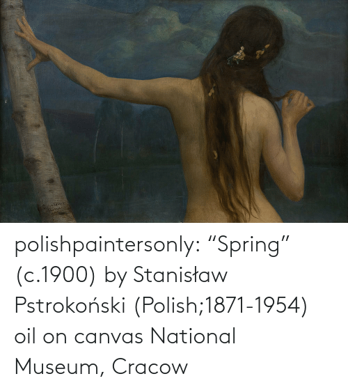 "polish: polishpaintersonly: ""Spring"" (c.1900) by  Stanisław Pstrokoński (Polish;1871-1954) oil on canvas National Museum, Cracow"