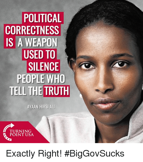Ali, Memes, and Political Correctness: POLITICAL  CORRECTNESS  IS A WEAPON  USED TO  SILENCE  PEOPLE WHO  TELL THE TRUTH  AYAAN HIRSI ALI  TURNING  POINT USA Exactly Right! #BigGovSucks