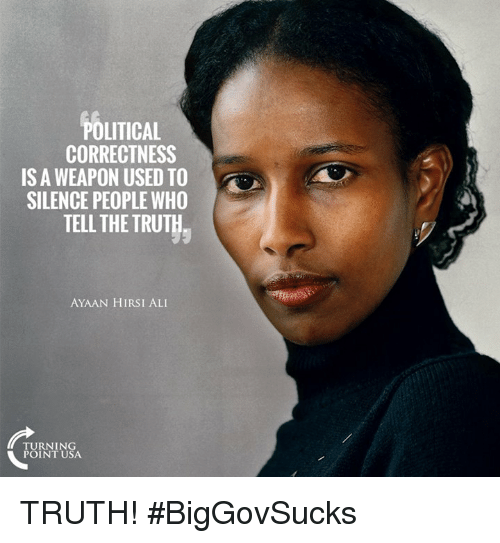 Ali, Memes, and Political Correctness: POLITICAL  CORRECTNESS  ISA WEAPON USED TO  SILENCE PEOPLE WHO  TELL THE TRUTH  AYAAN HIRSI ALI  TURNING  POINT USA TRUTH! #BigGovSucks