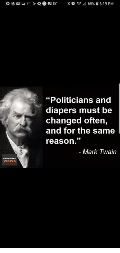 """diapers: """"Politicians and  diapers must be  changed often,  and for the same  reason.""""  - Mark Twain  VIEWS"""