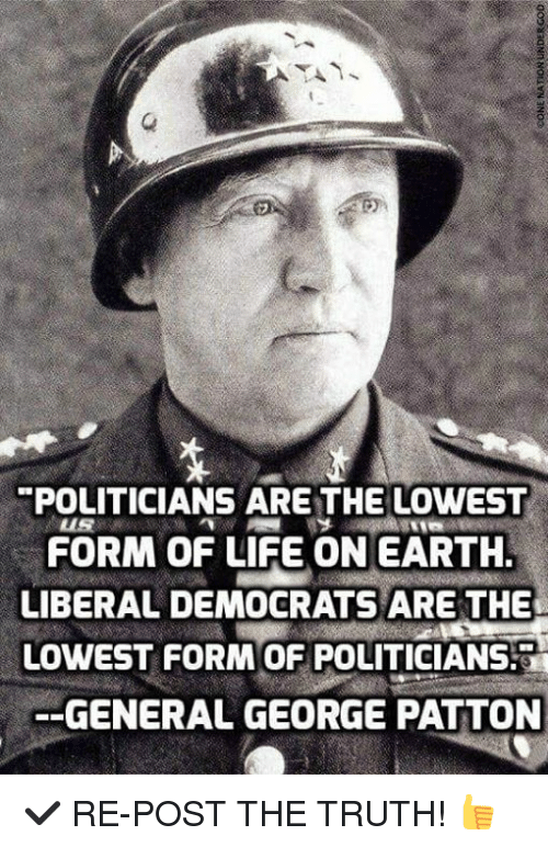 Life, Memes, and Earth: POLITICIANS ARE THE LOWEST  FORM OF LIFE ON EARTH.  LIBERAL DEMOCRATS ARE THE  LOWEST FORMOF POLITICIANS:  -GENERAL GEORGE PATTON ✔️ RE-POST THE TRUTH! 👍