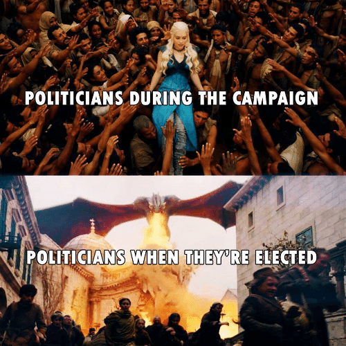 Politicians, They, and Campaign: POLITICIANS DURING THE CAMPAIGN  POLITICIANS WHEN THEY RE ELECTED