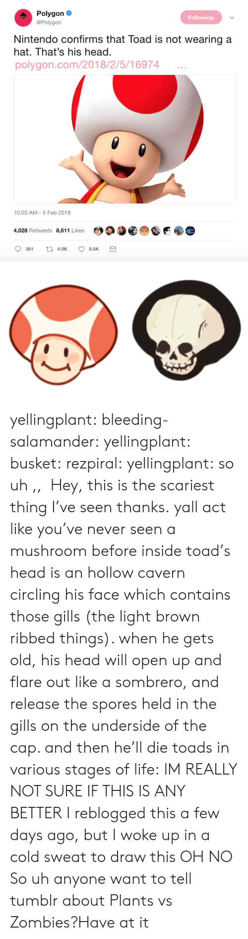 circling: Polygon  Following  @Polygon  Nintendo confirms that Toad is not wearing a  hat. That's his head.  polygon.com/2018/2/5/16974  10:03 AM - 5 Feb 2018  4,028 Retweets 8,611 Likes yellingplant:  bleeding-salamander:  yellingplant:  busket:  rezpiral:  yellingplant:  so uh ,,  Hey, this is the scariest thing I've seen thanks.  yall act like you've never seen a mushroom before inside toad's head is an hollow cavern circling his face which contains those gills (the light brown ribbed things). when he gets old, his head will open up and flare out like a sombrero, and release the spores held in the gills on the underside of the cap. and then he'll die toads in various stages of life:  IM REALLY NOT SURE IF THIS IS ANY BETTER  I reblogged this a few days ago, but I woke up in a cold sweat to draw this  OH NO  So uh anyone want to tell tumblr about Plants vs Zombies?Have at it