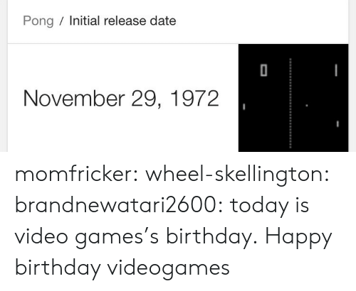 november: Pong Initial release date  November 29, 1972 momfricker:  wheel-skellington:  brandnewatari2600: today is video games's birthday.  Happy birthday videogames