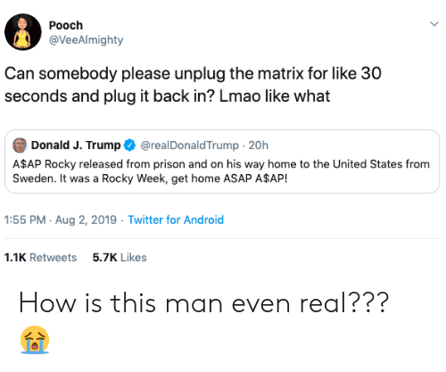 A$AP Rocky, Android, and Lmao: Pooch  @VeeAlmighty  Can somebody please unplug the matrix for like 30  seconds and plug it back in? Lmao like what  Donald J. Trump  @realDonaldTrump 20h  A$AP Rocky released from prison and on his way home to the United States from  Sweden. It was a Rocky Week, get home ASAP A$AP!  1:55 PM Aug 2, 2019 Twitter for Android  5.7K Likes  1.1K Retweets How is this man even real??? 😭