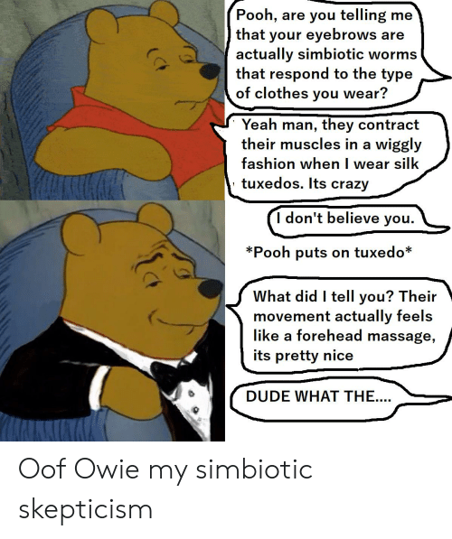 Pooh Are You Telling Me That Your Eyebrows Are Actually Simbiotic