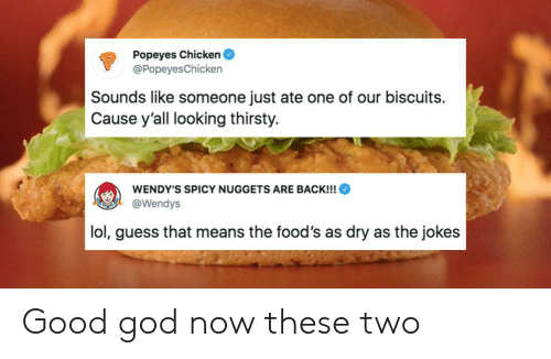 biscuits: Popeyes Chicken  @Popeyes Chicken  Sounds like someone just ate one of our biscuits  Cause y'all looking thirsty.  WENDY'S SPICY NUGGETS ARE BACK!!!  @Wendys  lol, guess that means the food's as dry as the jokes Good god now these two