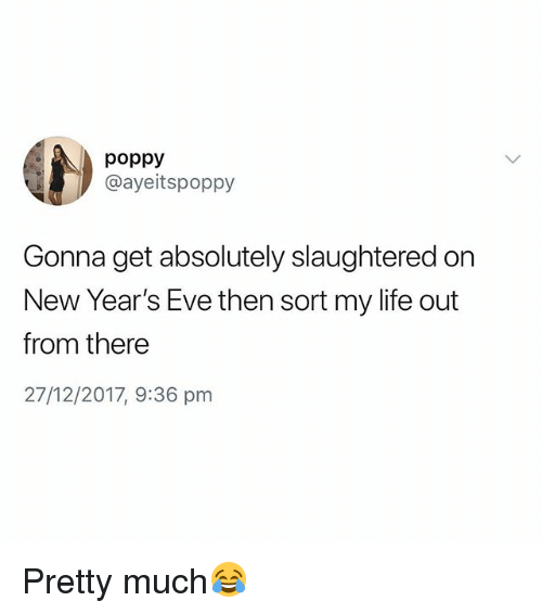 poppy: poppy  @ayeitspoppy  Gonna get absolutely slaughtered on  New Year's Eve then sort my life out  from there  27/12/2017, 9:36 pnm Pretty much😂