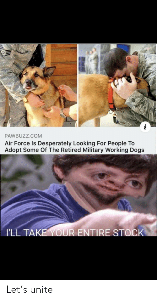 Air Force: PORAGER  i  PAWBUZZ.COM  Air Force Is Desperately Looking For People To  Adopt Some Of The Retired Military Working Dogs  I'LL TAKE YOUR ENTIRE STOCK Let's unite