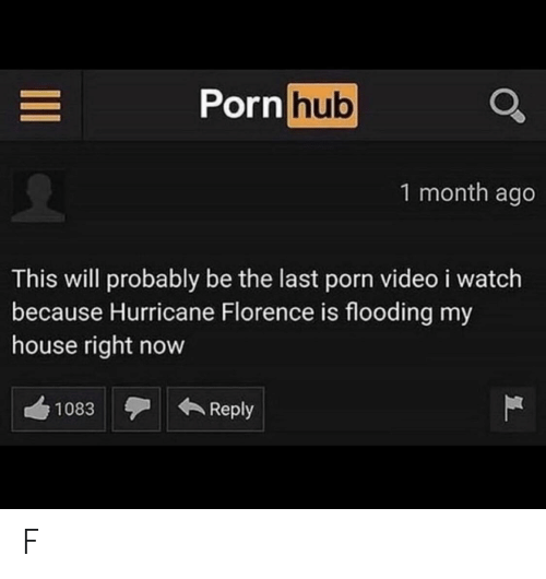 Flooding: Porn hub  1 month ago  This will probably be the last porn video i watch  because Hurricane Florence is flooding my  house right now  Reply  1083  II F