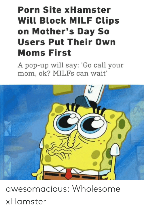 Mother's Day: Porn Site xHamster  Will Block MILF Clips  on Mother's Day So  Users Put Their Own  Moms First  A pop-up will say: 'Go call your  mom, ok? MILFs can wait' awesomacious:  Wholesome xHamster