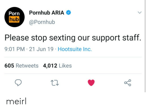 Pornhub Aria: Pornhub ARIA  Porn  hub  @Pornhub  Please stop sexting our support staff.  9:01 PM 21 Jun 19 Hootsuite Inc.  605 Retweets 4,012 Likes meirl