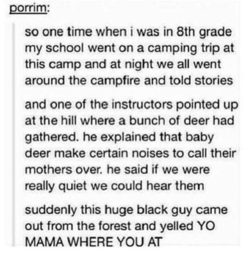 8th grade: porrim  so one time when i was in 8th grade  my school went on a camping trip at  this camp and at night we all went  around the campfire and told stories  and one of the instructors pointed up  at the hill where a bunch of deer had  gathered. he explained that baby  deer make certain noises to call their  mothers over. he said if we were  really quiet we could hear them  suddenly this huge black guy came  out from the forest and yelled YO  MAMA WHERE YOU AT
