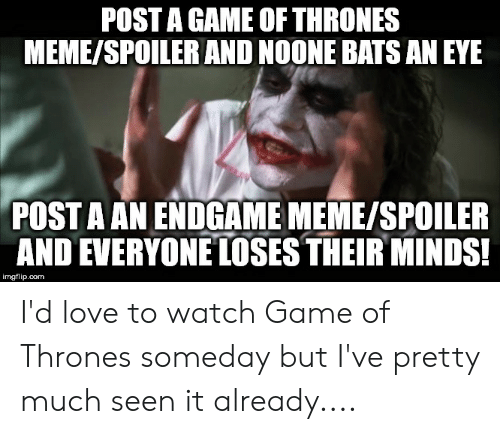 game of thrones meme: POST A GAME OF THRONES  MEME/SPOILER AND NOONE BATSAN EYE  POST A AN ENDGAME MEME/SPOILER  AND EVERYONE LOSES THEIR MINDS  imgflip.com I'd love to watch Game of Thrones someday but I've pretty much seen it already....