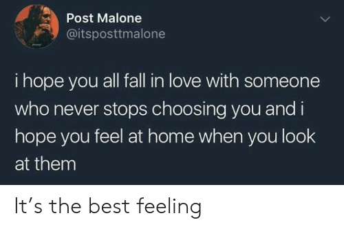 malone: Post Malone  @itsposttmalone  i hope you all fall in love with someone  who never stops choosing you and i  hope you feel at home when you look  at them It's the best feeling