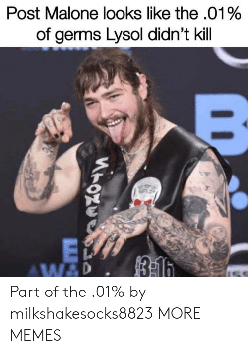 Post Malone: Post Malone looks like the .01%  of germs Lysol didn't kill Part of the .01% by milkshakesocks8823 MORE MEMES
