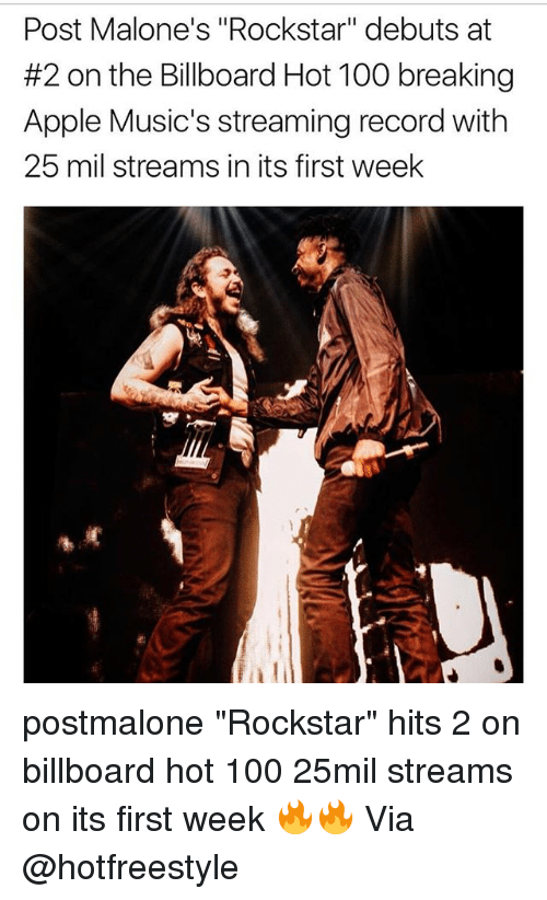 """billboard hot 100: Post Malone's """"Rockstar"""" debuts at  #2 on the Billboard Hot 100 breaking  Apple Music's streaming record with  25 mil streams in its first week postmalone """"Rockstar"""" hits 2 on billboard hot 100 25mil streams on its first week 🔥🔥 Via @hotfreestyle"""