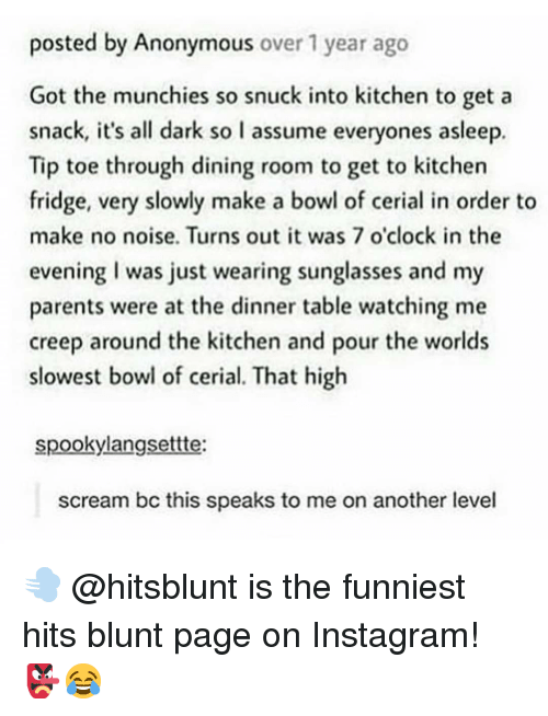 Instagram, Memes, and Munchies: posted by Anonymous over 1 year ago  Got the munchies so snuck into kitchen to get a  snack, it's all dark so l assume everyones asleep.  Tip toe through dining room to get to kitchen  fridge, very slowly make a bowl of cerial in order to  make no noise. Turns out it was 7 o'clock in the  evening I was just wearing sunglasses and  parents were at the dinner table watching me  creep around the kitchen and pour the worlds  slowest bowl of cerial. That high  my  spookylangsettte:  scream bc this speaks to me on another level 💨 @hitsblunt is the funniest hits blunt page on Instagram! 👺😂